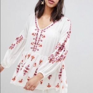 Free People White Ariana Embroidered Tunic